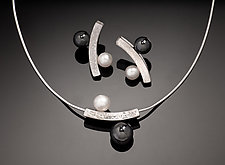 The Balanced Ying Yan Earrings and Necklace Set by Chi Cheng Lee (Silver & Stone Jewelry)