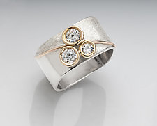 Large Three Stone Blossom Ring by Chi Cheng Lee (Gold, Silver & Stone Ring)