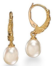 Pearl Hoop Earring by Conni Mainne (Gold and Pearl Earrings)