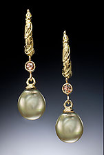 Green Pearl and Andaluzite Hoop Earrings by Conni Mainne (Pearl, Stone and Gold Earrings)