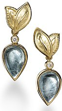 18k Earrings with Green Tourmalines and Diamonds by Conni Mainne (Gold, Diamond and Stone Earrings)