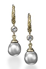 Silvery Pearl and Tanzanite Hoop Earrings by Conni Mainne (Gold, Stone & Pearl Earrings)