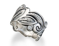 Moonlight Dreams Sterling-Platinum Wide Leaf Band by Conni Mainne (Silver & Stone Ring)