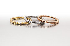 Squares and Bars Stacking Ring in Gold by Conni Mainne (Gold Ring)