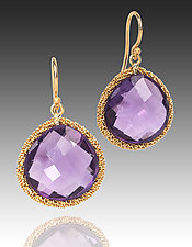 Round Amethyst Candy Drop Earrings by Sara Freedenfeld (Gold & Stone Earrings)