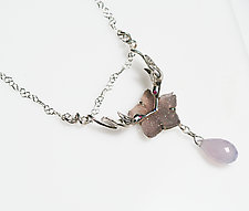 Kissing Hummingbird Druzy Quartz Necklace by Gillian Batcher (Silver & Stone Necklace)