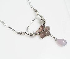 Kissing Hummingbird Druzy Quartz Necklace by Gillian Batcher (Silver & Stone Necklace)