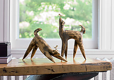 Dog Sculptures by Cathy Broski (Ceramic Sculpture)