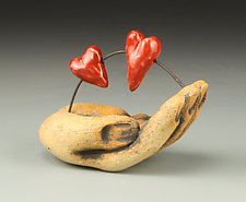 Two Hearts in Hand by Cathy Broski (Ceramic Sculpture)