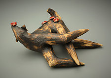 Happy Dog by Cathy Broski (Ceramic Sculpture)