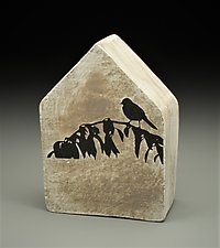 Bird in Silhouette by Cathy Broski (Ceramic Wall Sculpture)
