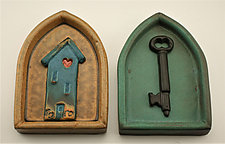 House/Key by Cathy Broski (Ceramic Wall Sculpture)