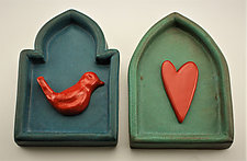 Red Bird/ Heart by Cathy Broski (Ceramic Wall Sculpture)