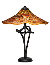 Paprika Fluted Spiral Lamp by Joel and Candace  Bless (Art Glass Table Lamp)