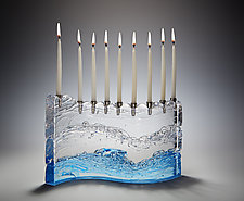 Bermuda Wave Menorah by Joel and Candace  Bless (Art Glass Menorah)