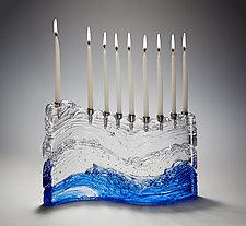 Bermuda Wave Menorah by Joel and Candace  Bless (Art Glass Menorah)