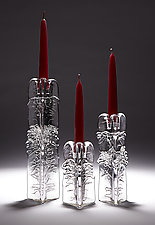 Set of 3-Sided Candlesticks by Joel and Candace  Bless (Art Glass Candleholders)
