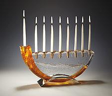 Shofar Menorah by Joel and Candace  Bless (Art Glass Menorah)