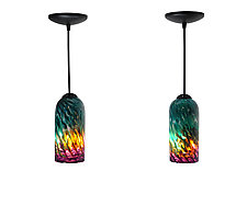 Pair of Purple & Green Mini Pendants by Joel and Candace  Bless (Art Glass Pendant Lamps)