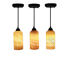 Trio of Seashell Pendants by Joel and Candace  Bless (Art Glass Pendant Lamps)