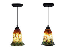 Pair of Orange & Green Mini Pendants by Joel and Candace  Bless (Art Glass Pendant Lamps)