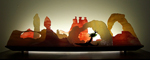 Moab by Bernie Huebner and Lucie Boucher (Art Glass Sculpture)