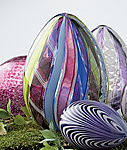 Multicolor Spring Cane Egg by Paul Lockwood (Art Glass Sculpture)