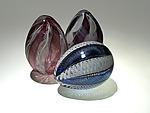 Zanfirico Eggs by Paul Lockwood (Art Glass Sculpture)