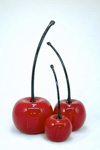 Red Cherries by Donald  Carlson (Art Glass Sculpture)