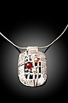 Woven Rectangle Necklace by Chi Cheng Lee (Silver & Stone Necklace)