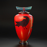 Raven with Berry by John & Heather  Fields (Art Glass Vessel)