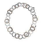 1/2 Edged Short Sprocket Necklace by Gillian Batcher (Silver & Pearl Necklace)