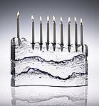 Wave Menorah by Joel and Candace  Bless (Art Glass Menorah)