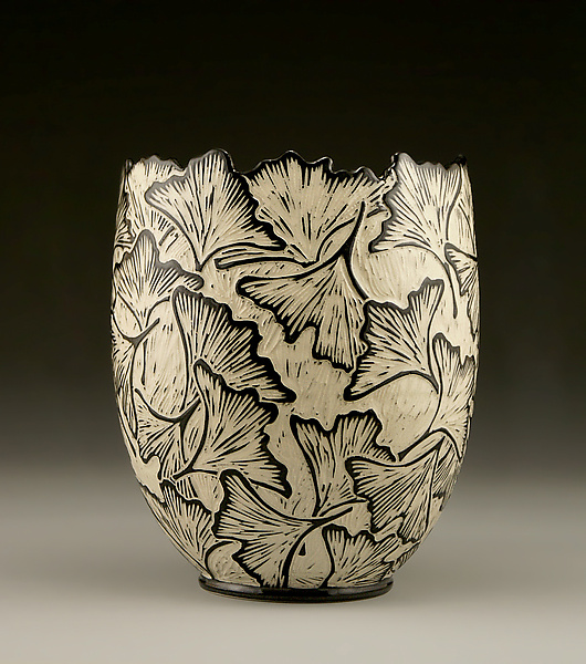 Ginkgo Vase With Carved Edge By Jennifer Falter Ceramic Vase
