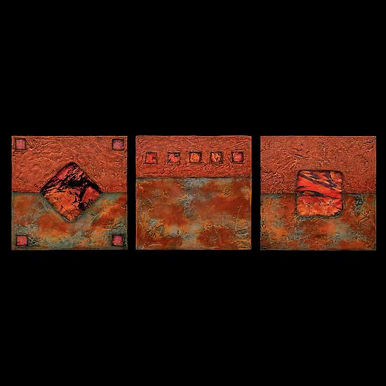 Earth and Fire: Sage Petite Square Triptych