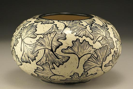 Large Round Ginkgo Vase by Jennifer Falter (Ceramic Vase) | Artful Home