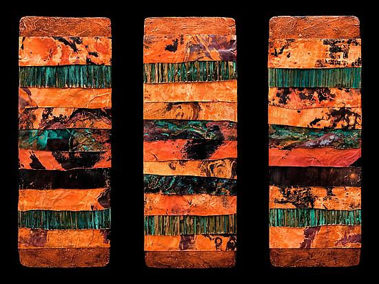 Earth and Fire: Torn Metal M Triptych