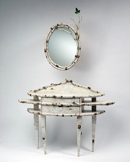 Birch Bark Bluff: Console & Mirror