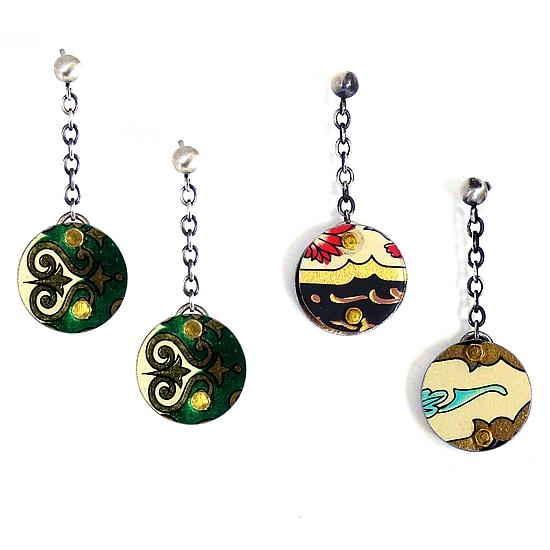 3D Circle Charm Earrings