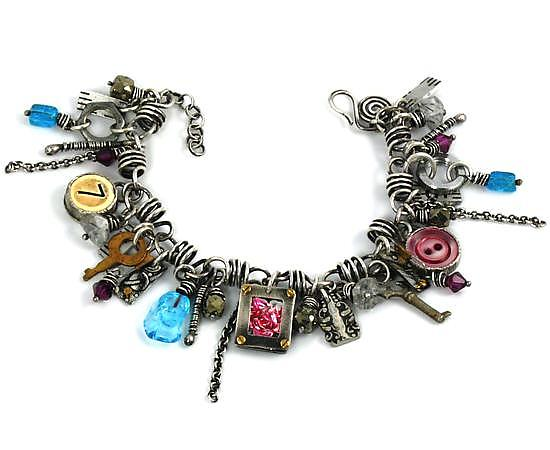 Found Object & Sterling Silver Convertible Charm Bracelet and Necklace