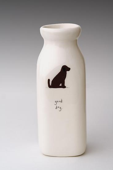 Good Dog Milk Bottle Vase