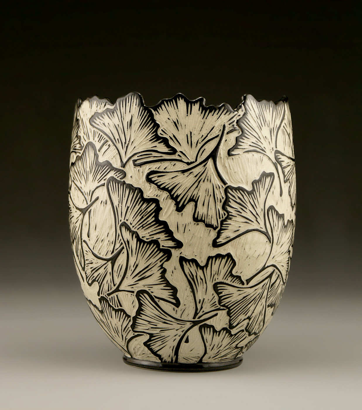 Ginkgo vase with carved edge by jennifer falter ceramic