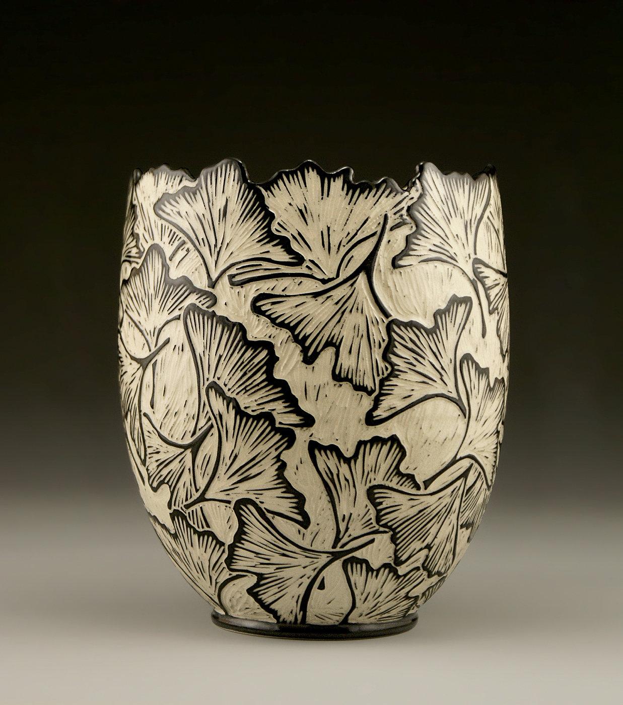 Jennifer falter jennifer falter ceramic artist artful home ginkgo vase with carved edge by jennifer falter ceramic vase reviewsmspy