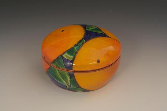 Round Dark Blue Box with Oranges
