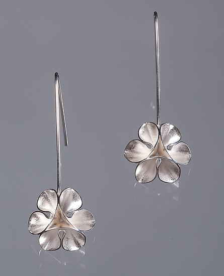 Folded Leaf Flower Wire Earrings