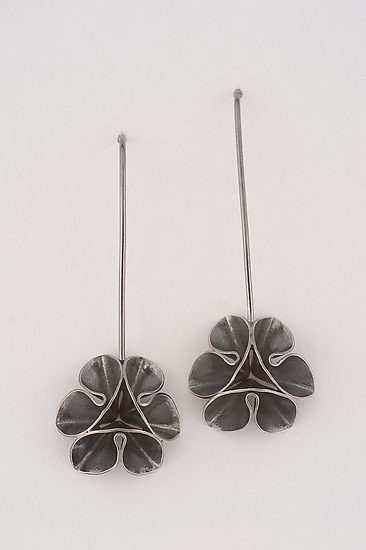 Folded Leaf Oxidized Flower Wire Earrings