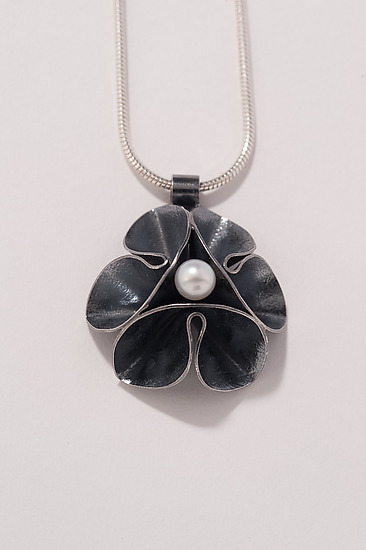 Oxidized Folded Leaf Pendant with Pearl