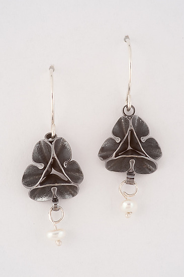 Oxidized Folded Leaf Earrings with Pearl Drop