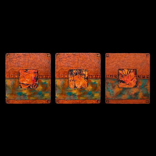 Earth and Fire Triptych Blue S