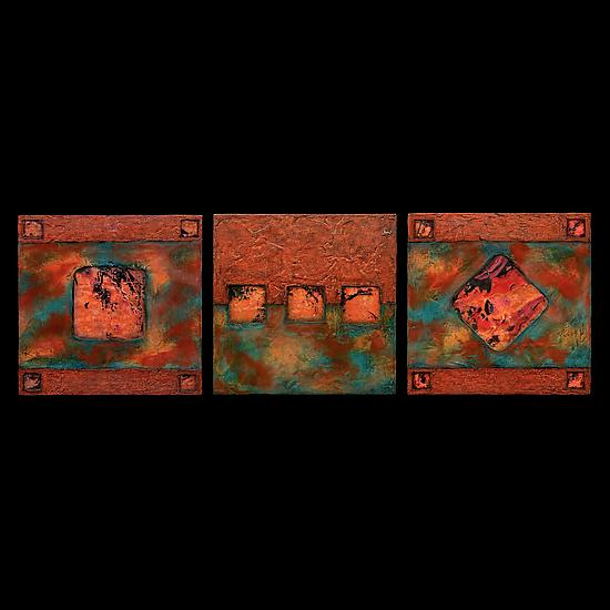 Earth and Fire Blue/ Petite SquareTriptych Blue